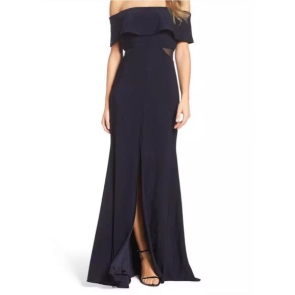 Xscape Dresses | Jersey Popover Gown In Navy | Poshmark